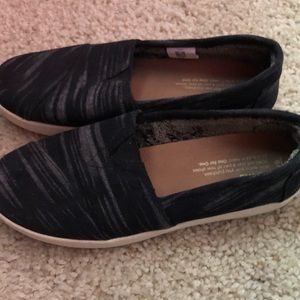Black stripes Tom slip on's